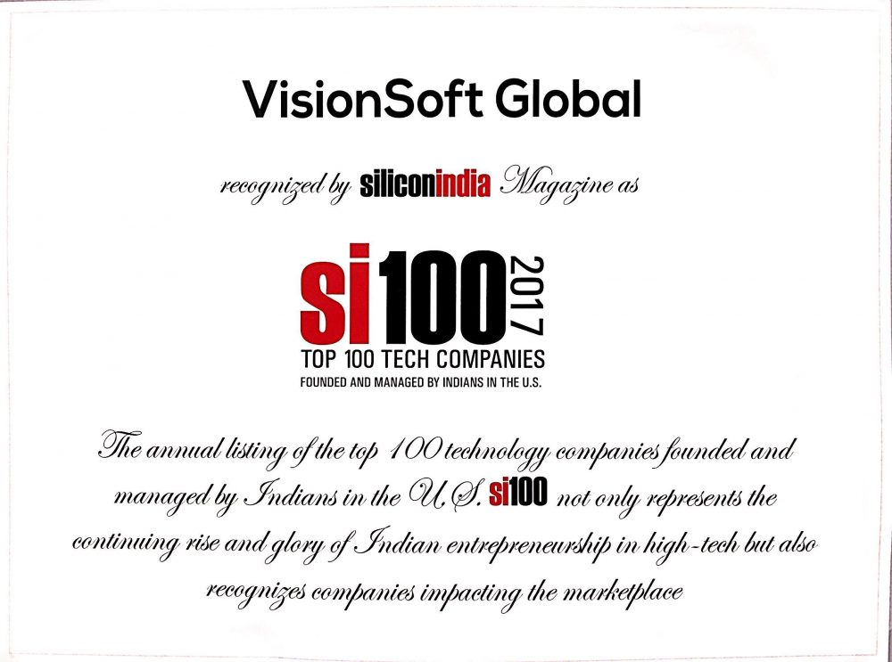 Silicon India Top 100 Tech Companies Visionsoft Sap Hana Integration And Migration Specialists